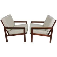 Pair of Illum Wikkelso Eilersen Danish Modern Teak Capella Lounge Chairs
