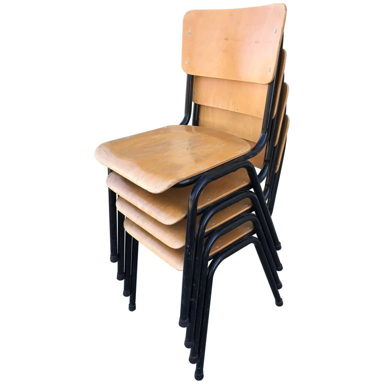 Blonde Plywood Set of Four Danish Chairs For Sale
