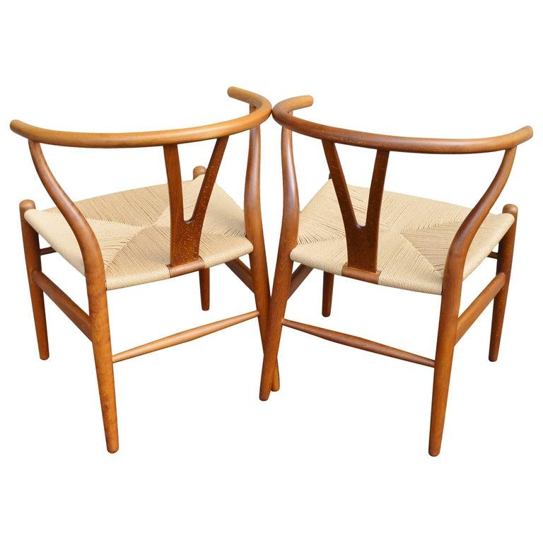 Pair of Hans Wegner Oak Wishbone Chairs for Carl Hansen & Son