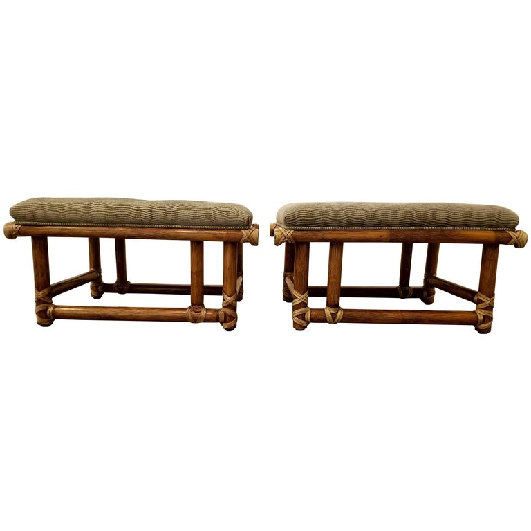 Bamboo Ottomans or Stools by McGuire Furniture