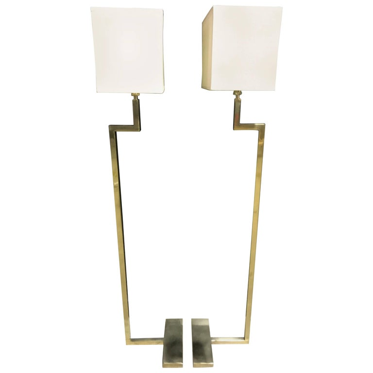 Pair of French Modern Brass Floor Lamps by Jacques Quinet
