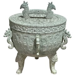 James Mont Style Verdigris Asian Style Ice Bucket
