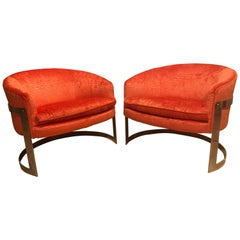 Pair of Exquisite Milo Baughman Chrome Side Chairs in Faux Coral Alligator