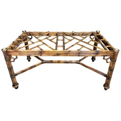 McGuire Bamboo and Leather Rectangular Dining Table Base