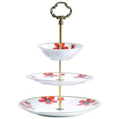 Three Layer Cake Stand in Brass and Porcelaine, Czechoslovakia, circa 1960