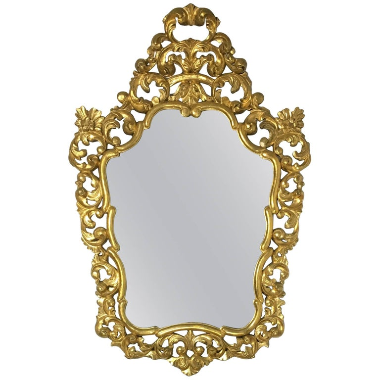 19th French Empire Period Carved Gilt Wood Rectangular Mirror  For Sale