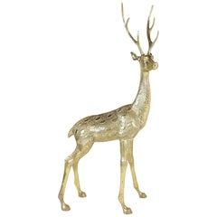 Hollywood Regency Life-Size Brass Deer Sculpture, 1970s