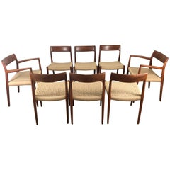 Classic Set of Eight Teak and Rope Dining Chairs by J L Moller, Denmark