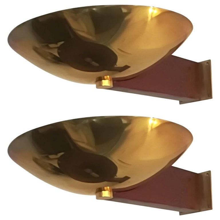 Pair of Art Deco Brass and Mahogany Wall Lights by Eckart Muthesius ...