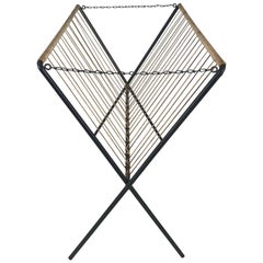 Modernist Iron and Jute Folding Magazine Rack, Tomado