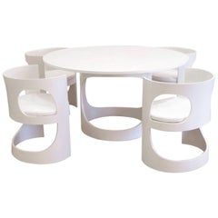 Arne Jacobsen White Lacquered Pre Pop Dining Room Set for Asko, 1969