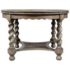 Antique, Coffee Table, English, Limed Oak, Circular, Edwardian Circa 1910
