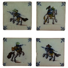 Four Delft Ceramic Wall Tiles Military Horse Riders, Hand Painted Ca. 1800