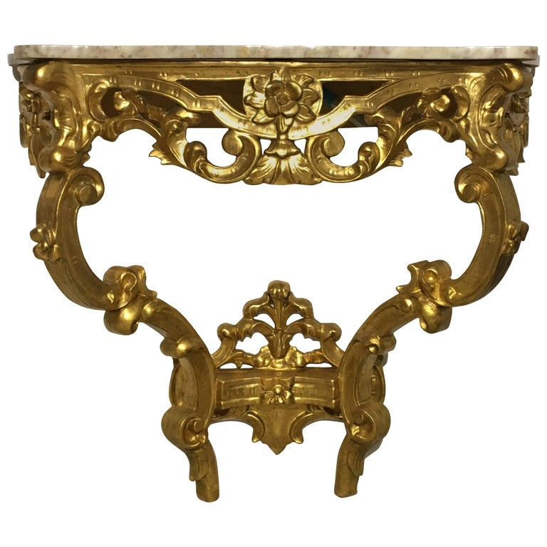 19th Century Italian Carved Giltwood Marble Top Console