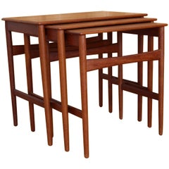 Hans Wegner Teak Nesting Tables Model AT-40 Andreas Tuck, Denmark