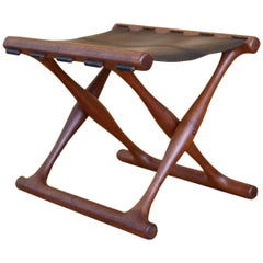 Poul Hundevad Teak and Leather Model PH41 'Guldhoj' Folding Stool