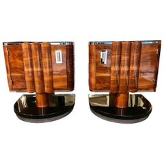 Pair of Art Deco Bedside Tables, Walnut/Black/Metal, France circa 1930