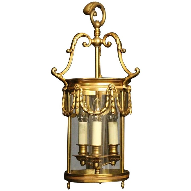 French 19th Century Gilded Bronze Antique Hall Lantern