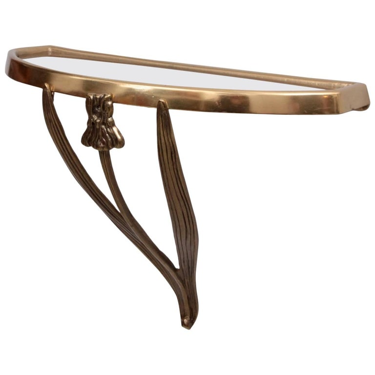 Art Deco Wall Console in Brass, 1930s, France