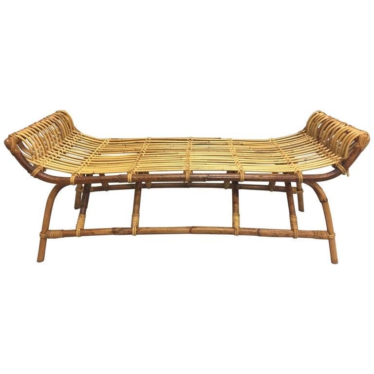 Wonderfully Shaped Rattan Bench For Sale At 1stdibs
