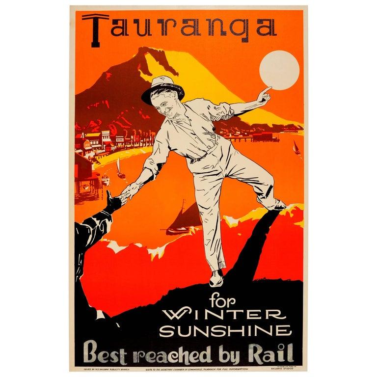 Original Vintage New Zealand Railway Travel Poster Tauranga For Winter Sunshine For Sale