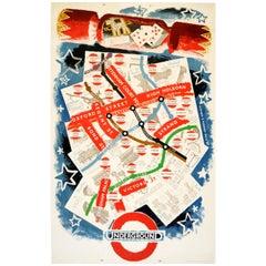 Original Vintage London Transport Poster Featuring London Underground Tube Map