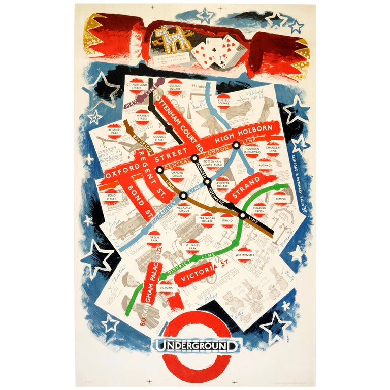 Original Vintage London Transport Poster Featuring London Underground Tube Map For Sale