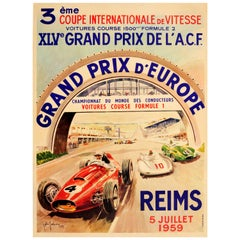 Original Formula One Motor Racing Poster For The Grand Prix d'Europe Reims 1959