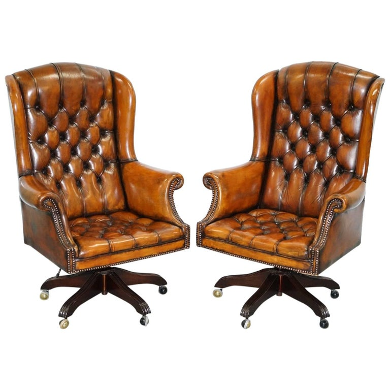 1 Of 2 Matching Chesterfield Wingback Office Chairs Hand Dyed Brown Leather For