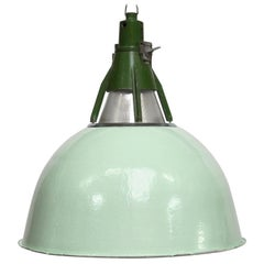 Green Enamel Industrial Pendant Light, 1950s