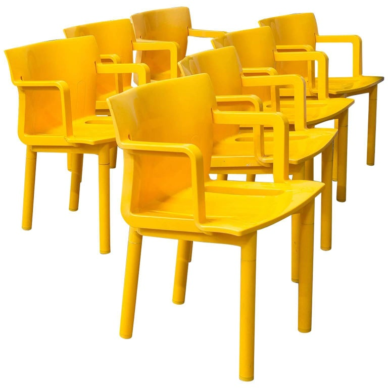 Sedia Kartell Anna Castelli Ferrieri.1986 Anna Castelli Ferreri For Kartell Model 4870 Rare In Yellow With Arms