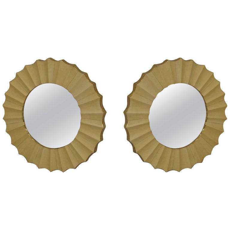 Pair of 1960s Parchment Leather and Brass Mid-Century Convex Mirrors