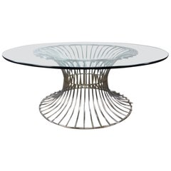 Warren Platner Style Glass and Steel Coffee Table