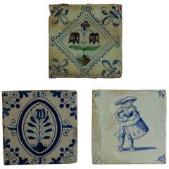 Three 17th Century Delft Ceramic Wall Tiles 1 Polychrome and 2 Blue and White