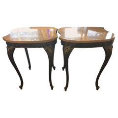 Marble and Metal Art Deco Style Side Tables