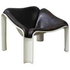 1963, Pierre Paulin, F303 Easy Chair for Artifort, off White and Vintage Leather