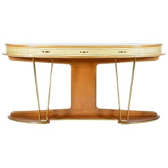 Mid century half moon shaped big italian  console .Signed.