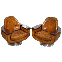 Two Restored 1969 Peter Hoyte Brown Leather Councilors Armchairs Brazilian Wood