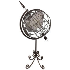 Large World Globe in Iron and Steel