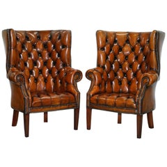 Pair of Chesterfield Porters Restored Hand-Dyed Brown Leather Wingback Armchairs