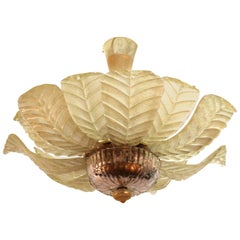 Italian Modern Chandelier with Murano Glass Leaves