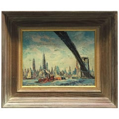 Old New York East River Brooklyn Bridge Cityscape Painting
