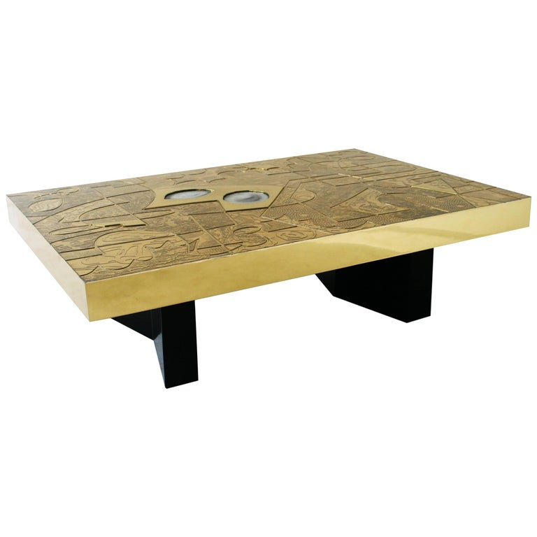 Belgali Coffee Table, Patinated Acid Etched Brass and High End Agate Slice
