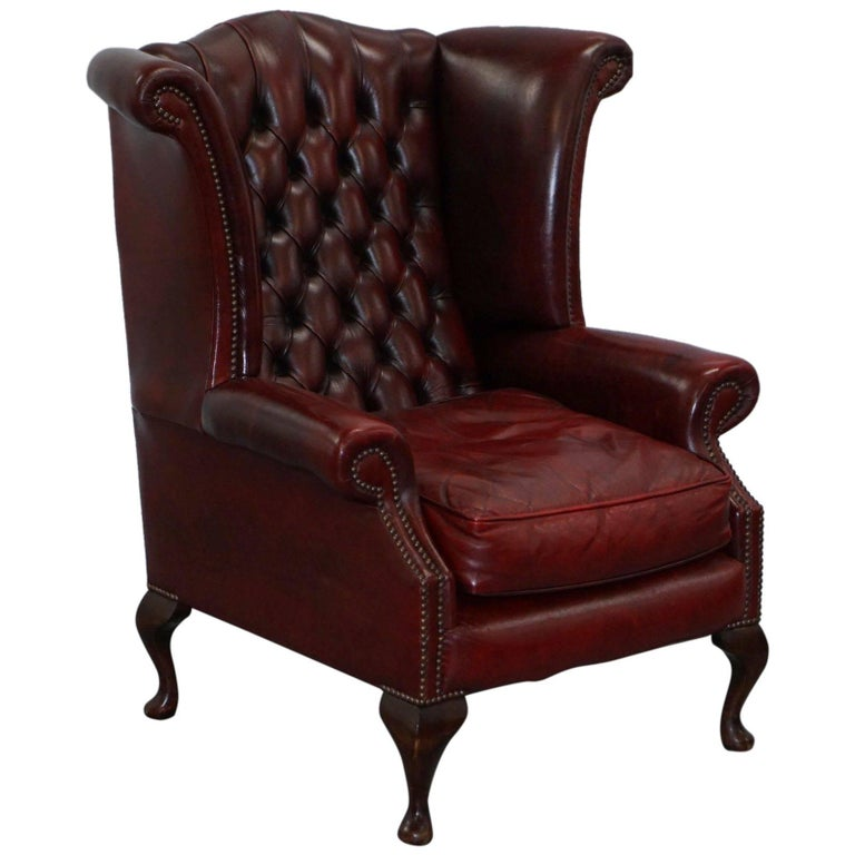 Large wing comfortable chesterfield oxblood leather queen for Comfortable wingback chair