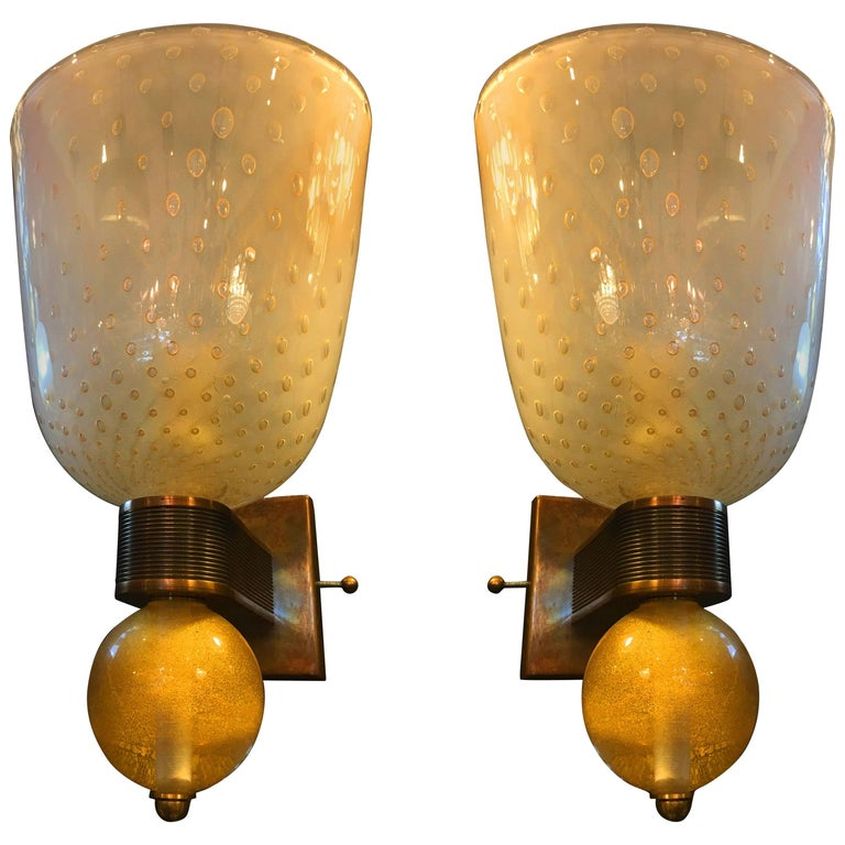 Fabulous Pair of Sconces 24-Karat Gold by Barovier & Toso, Murano, 1950s