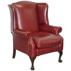 Claw & Ball Feet Large Comfortable Oxblood Leather Queen Anne Wingback Armchair