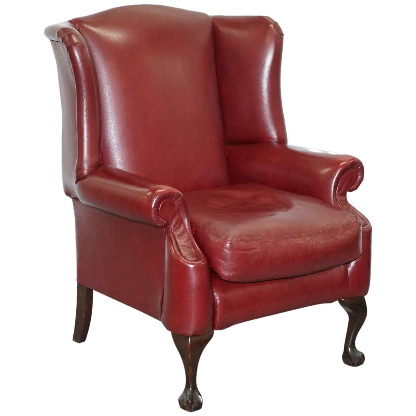 Superb Claw U0026 Ball Feet Large Comfortable Oxblood Leather Queen Anne Wingback  Armchair For Sale