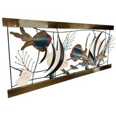 Mixed Metal Aquarium Fish Wall Sculpture by Curtis Jere