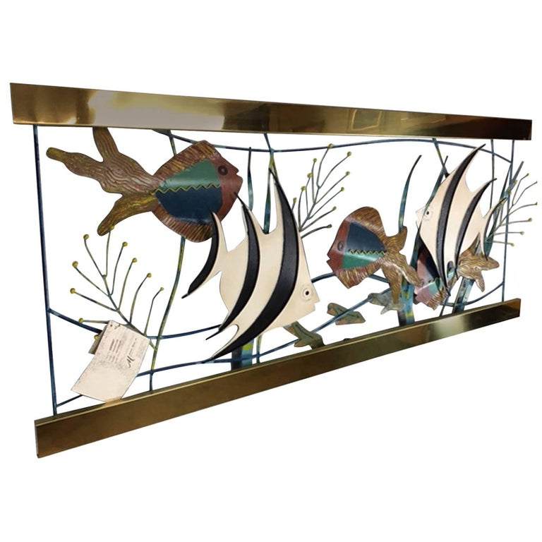 Mixed Metal Aquarium Fish Wall Sculpture by Curtis Jere