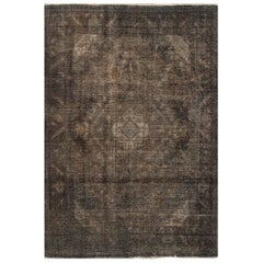 Vintage Gray Overdyed Persian Rug, 6.06x9.08